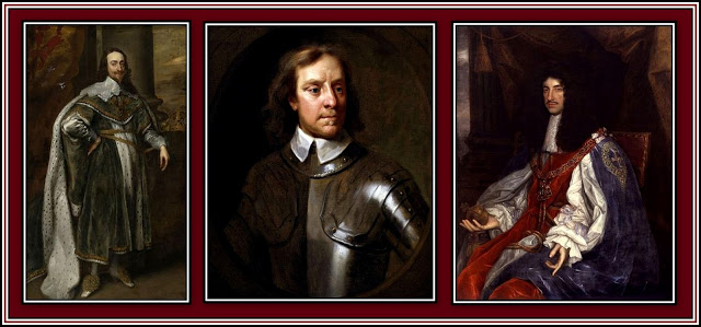 Left: Charles I; Middle: Oliver Cromwell; Right: Charles II (known as the Merrie Monarch)