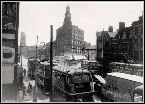 GARDNER'S CORNER IN THE EARLY 1950S The department stores may be seen in the centre of the photograph at the junction of the Whitechapel and Commercial Roads.