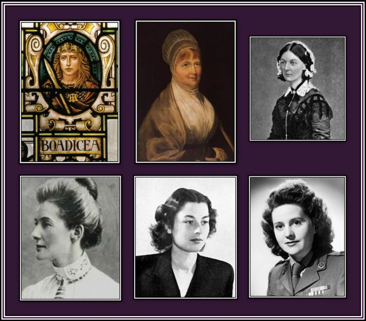 Top Row: Boadicea, Elizabeth Fry & Florence Nightingale Bottom Row: Edith Cavell, Violette Szabo and Odette