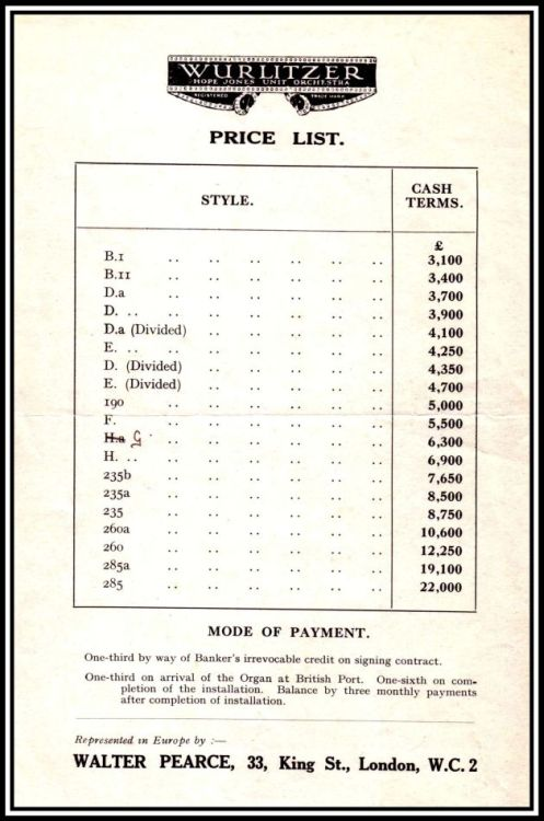 1926 Price List with border and REDUCED 2x