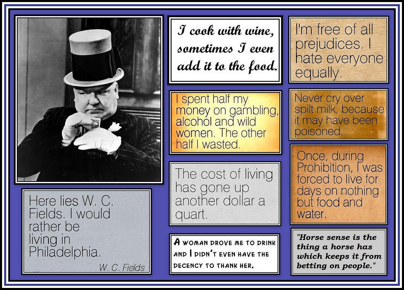 WC Fields Quotes Collage