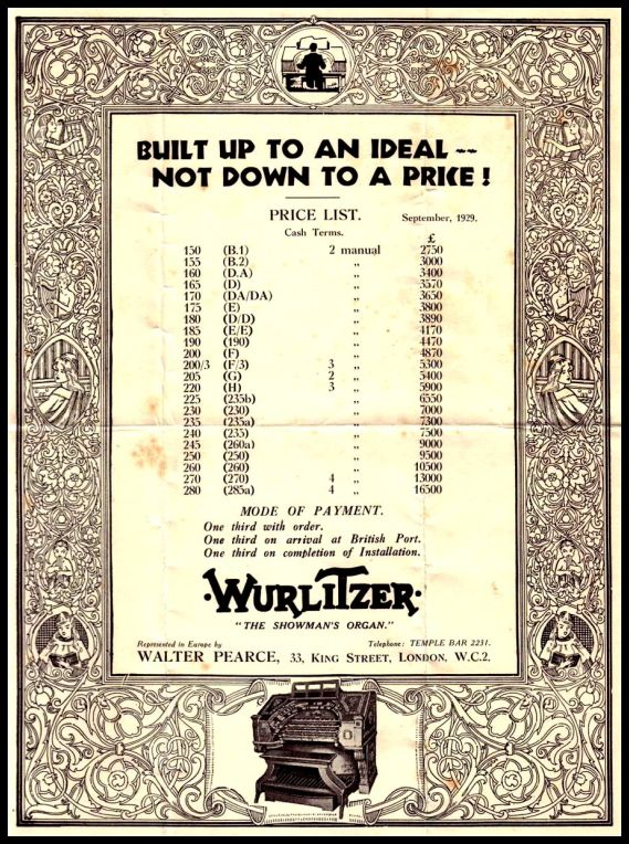 1929 Price List Wurlitzer red and border